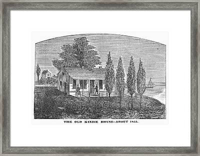 Chicago Old House, 1833 Framed Print