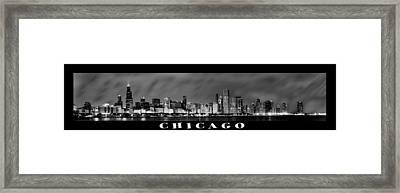 Chicago Panorama At Night Framed Print by Sebastian Musial