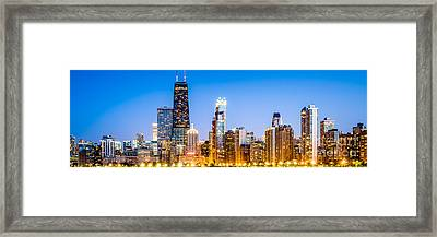 Chicago Panorama Skyline At Twilight Photo Framed Print by Paul Velgos
