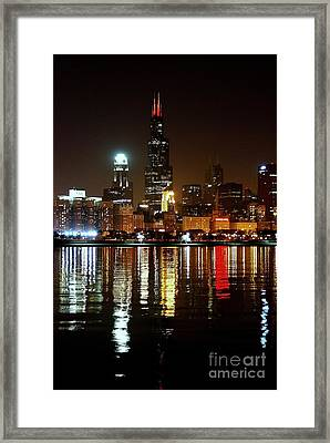 Chicago Photography - Willis Tower At Night Framed Print by Gene Mark
