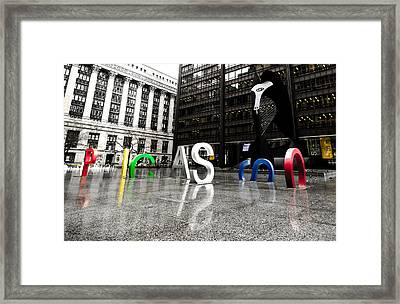 Chicago Picasso In The Rain Framed Print by Anthony Doudt