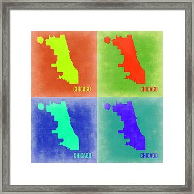 Chicago Pop Art Map 2 Framed Print