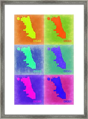 Chicago Pop Art Map 3 Framed Print by Naxart Studio