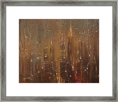 Chicago Raindrops On Glass Framed Print by Tom Shropshire