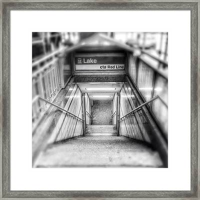 Chicago Lake Cta Red Line Stairs Framed Print