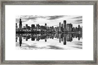 Chicago Reflection Panorama Framed Print by Donald Schwartz