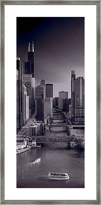 Chicago River Bridges South Bw Framed Print