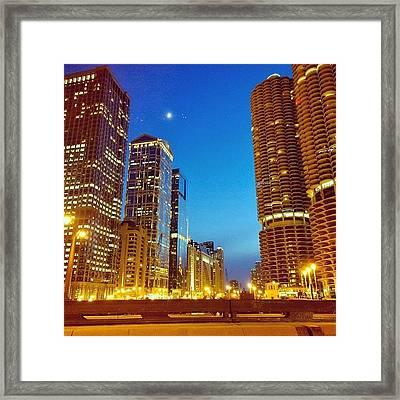 Chicago River Buildings At Night Taken Framed Print