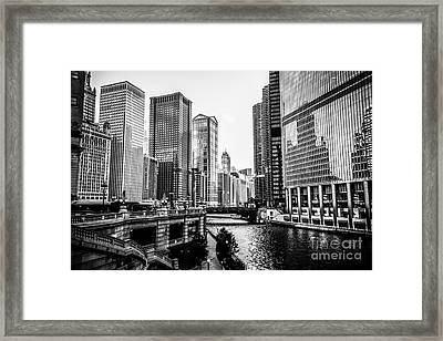 Chicago River Buildings In Black And White Framed Print by Paul Velgos
