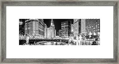 Chicago River Cityscape Panorama Photo With Wabash Bridge  Framed Print by Paul Velgos