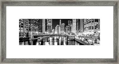 Chicago River Clark Street Bridge At Night Panorama Photo Framed Print by Paul Velgos