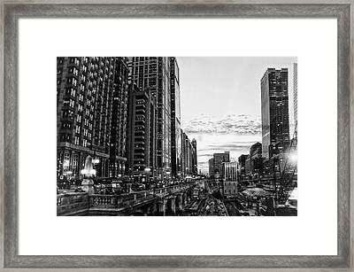 Chicago River Hdr Bw Framed Print by Thomas Woolworth
