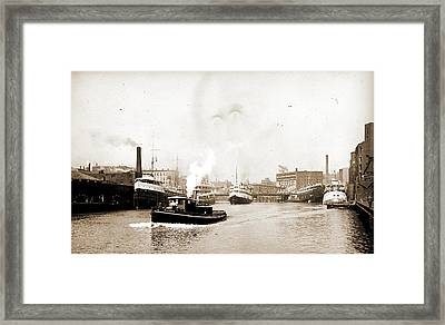 Chicago River Scene With Steamboat And Industrial Framed Print