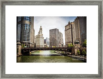 Chicago River Skyline At Wabash Avenue Bridge Framed Print by Paul Velgos