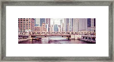 Chicago River Skyline Vintage Panorama Picture Framed Print by Paul Velgos