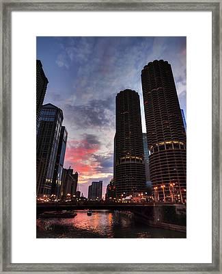 Chicago River Sunset 003 Framed Print