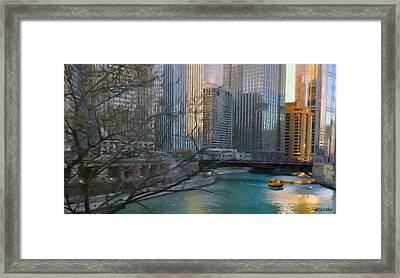 Chicago River Sunset Framed Print