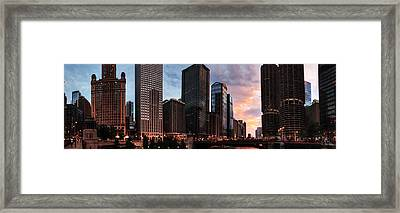 Chicago River Sunset Pano 001 Framed Print by Lance Vaughn