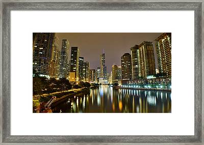 Chicago River View Pano Framed Print by Frozen in Time Fine Art Photography