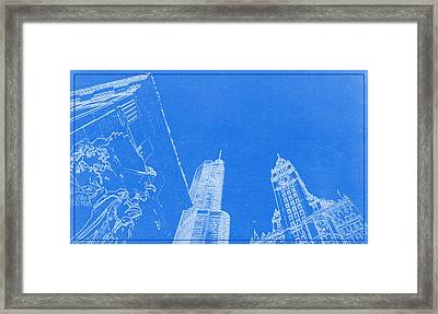 Chicago Riverfront Blueprint Framed Print