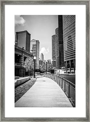 Chicago Riverwalk Black And White Picture Framed Print by Paul Velgos