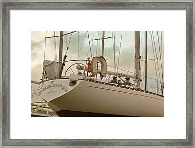 Chicago Sailboat In Muskegon Drydock Storage Framed Print by Rosemarie E Seppala