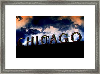 Chicago Sign Sunset Framed Print by Kristie  Bonnewell