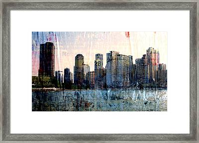 Chicago Skyline 1 And Painted Newspaper Framed Print by Anita Burgermeister