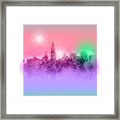 Chicago Skyline Abstract 3 Framed Print