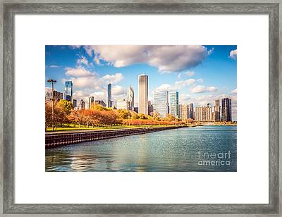 Chicago Skyline And Lake Michigan Photo Framed Print by Paul Velgos