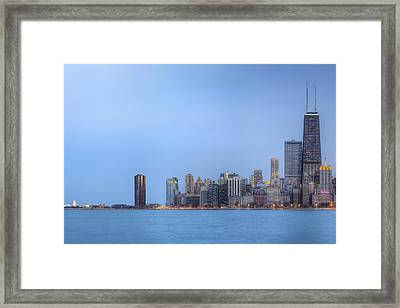 Framed Print featuring the photograph Chicago Skyline And Navy Pier by Shawn Everhart