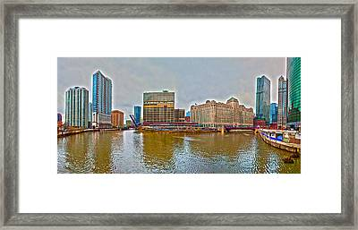 Framed Print featuring the photograph Chicago Skyline And Streets by Alex Grichenko