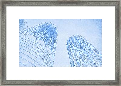 Chicago Skyline Architecture Marina Towers Blueprint Framed Print