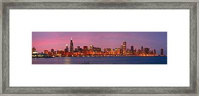 Chicago Skyline At Dusk 2008 Panorama Framed Print by Jon Holiday