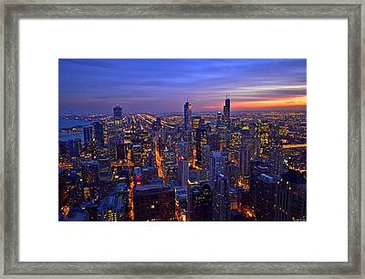 Chicago Skyline At Dusk From John Hancock Signature Lounge Framed Print by Jeff at JSJ Photography