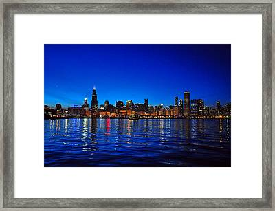 Chicago Skyline At Dusk Framed Print