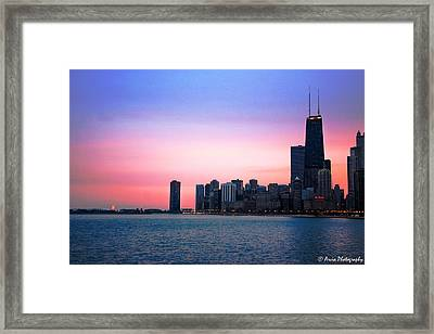 Chicago Skyline At Lake Michigan Framed Print