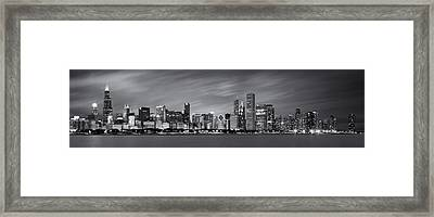 Chicago Skyline At Night Black And White Panoramic Framed Print