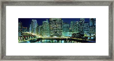 Chicago Skyline At Night, Chicago, Cook Framed Print