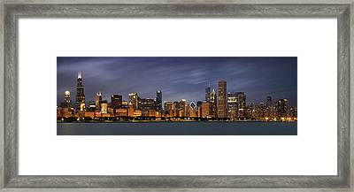 Chicago Skyline At Night Color Panoramic Framed Print