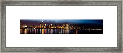 Chicago Skyline At Night Panoramic Framed Print