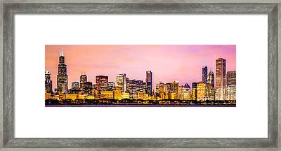 Chicago Skyline At Night Panorama Picture Framed Print by Paul Velgos
