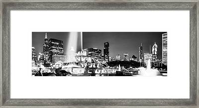 Chicago Skyline At Night Panoramic Picture Framed Print