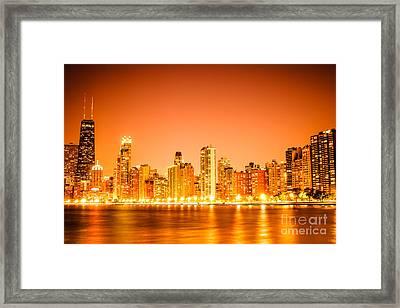 Chicago Skyline At Night With Orange Sky Framed Print by Paul Velgos