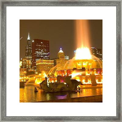 Chicago Skyline At Night With Framed Print by Paul Velgos