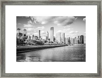 Chicago Skyline Black And White Photo Framed Print by Paul Velgos