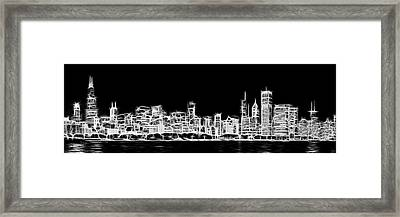 Chicago Skyline Fractal Black And White Framed Print