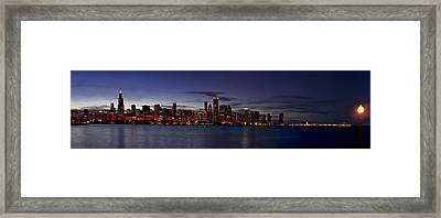 Chicago Skyline From The Lake Framed Print by Andrew Soundarajan