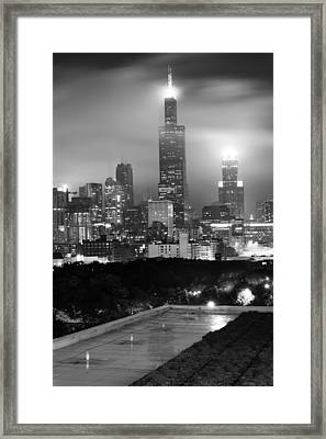 Chicago Skyline From The Rooftop - Black And White Framed Print by Gregory Ballos