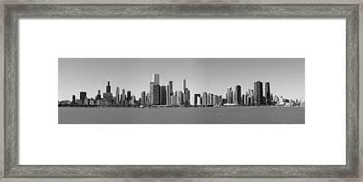 Chicago Skyline In Shades Of Grey Framed Print by Georgia Fowler